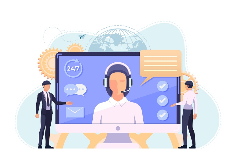 """Illustration showing """"smart"""" contact center agent"""