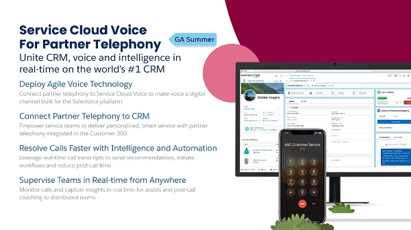 Screen capture of Salesforce Service Cloud Voice for Partner Telephony offering