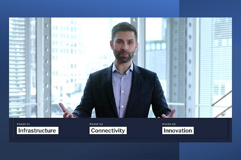 Screen capture of Jeff Shah, with the Times, speaking at AWS Summit