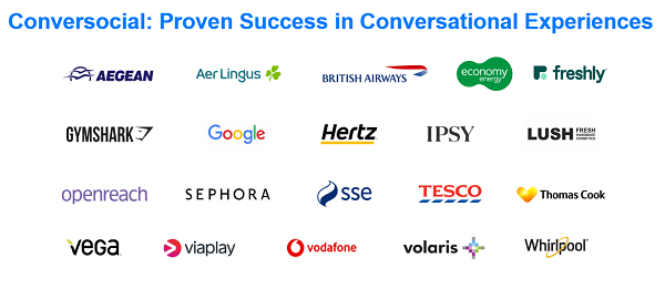 Slide showing Conversocial customers