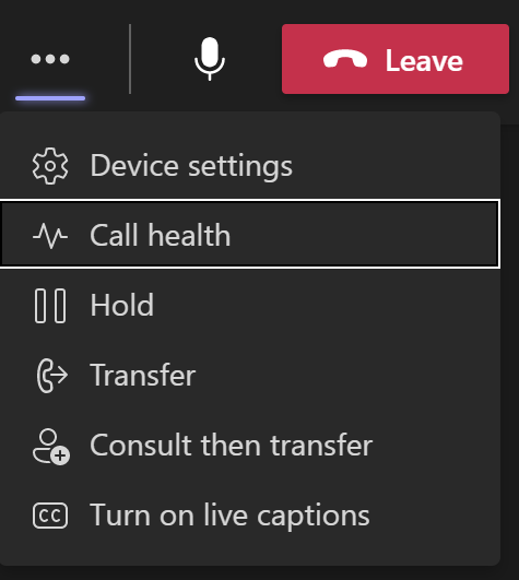 Screen capture showing where to check call health