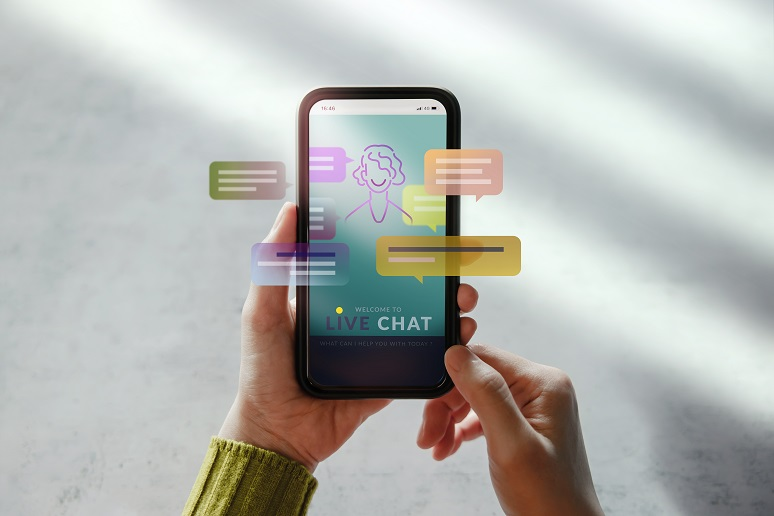 Photo showing use of conversational AI with mobile user