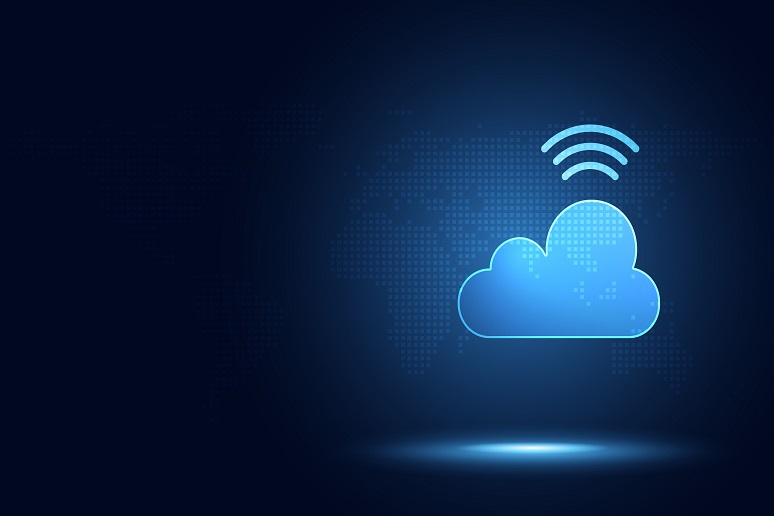 Illustration of WiFi symbol and cloud symbol, to show bringing together of wireless and UCaaS