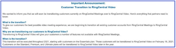 Screen capture from Zoom filing showing RingCentral partner announcement
