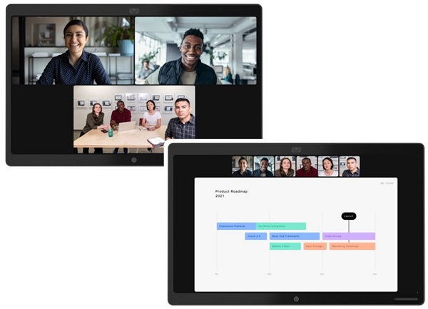 Screen grab showing Cisco's people focus mode for Webex virtual meetings