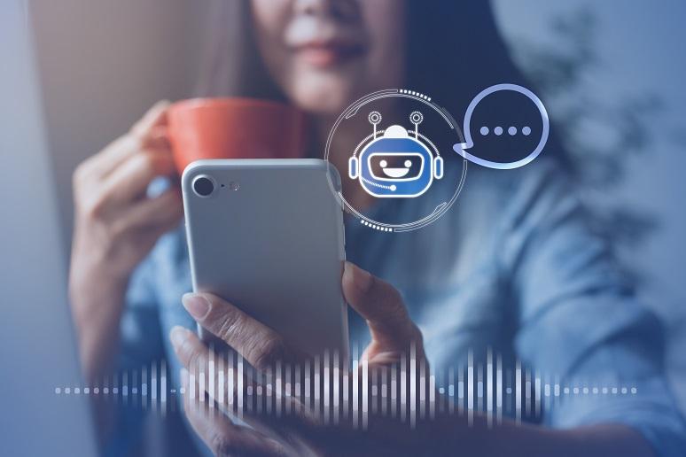 An AI chatbot helping a customer