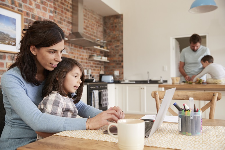 A family working and learning from home