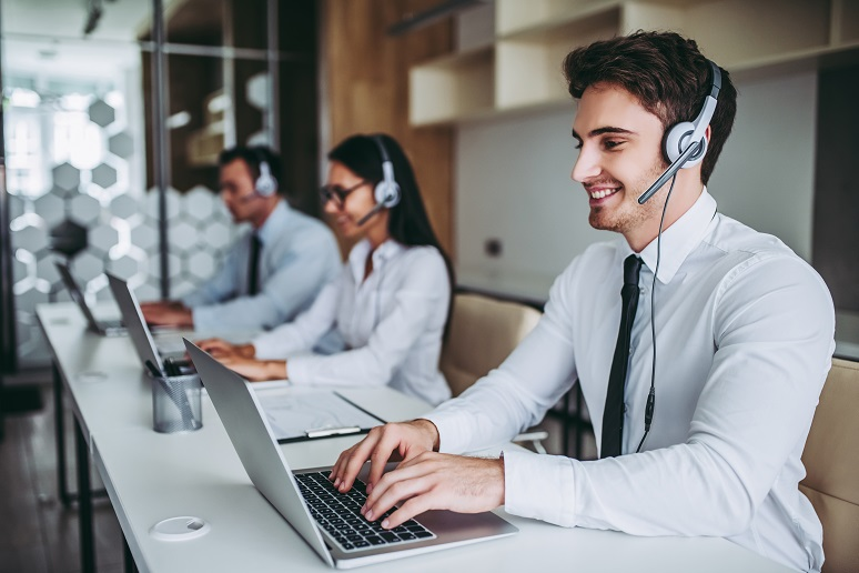 Contact center agents working