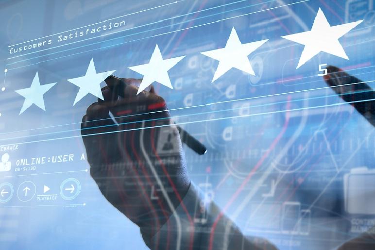 Illustration showing customer clicking 5 star rating