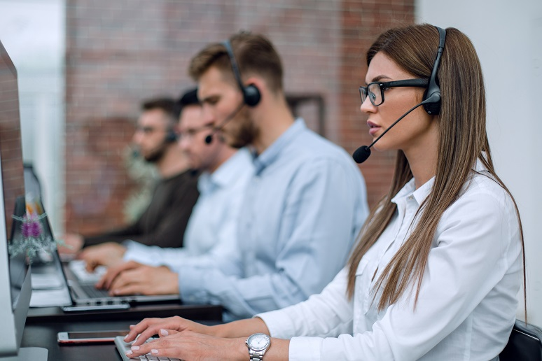 Picture of call center workers on phone