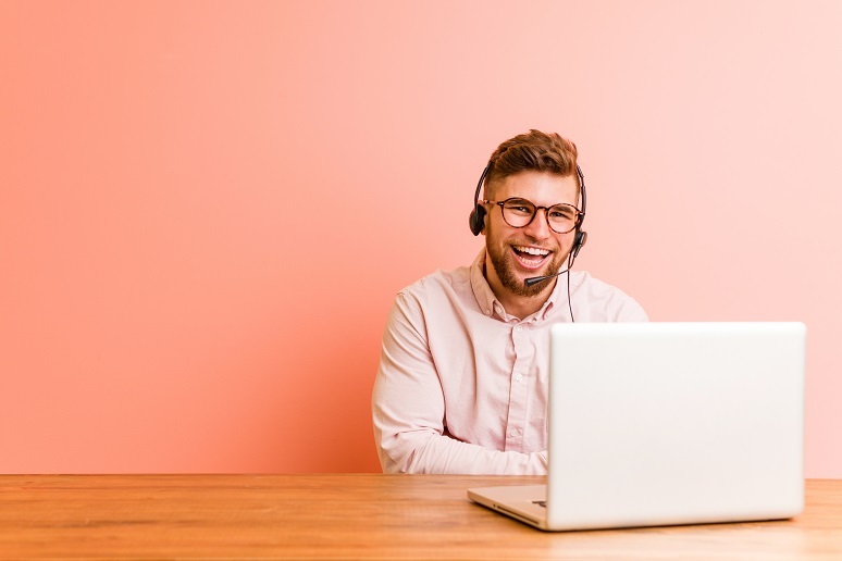 A contact center laughing and working