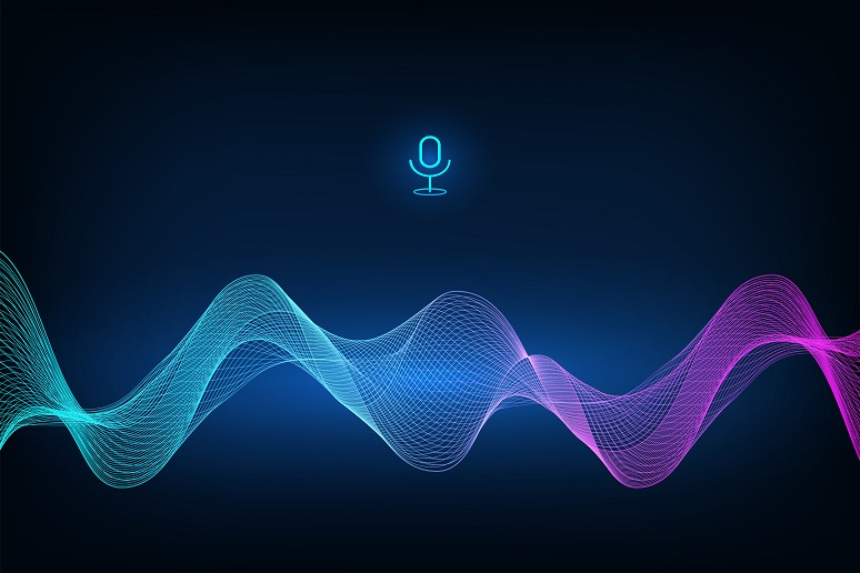 Voice assistant concept. Microphone voice control technology, voice and sound recognition. Vector sound wave. High-tech AI assistant voice, background