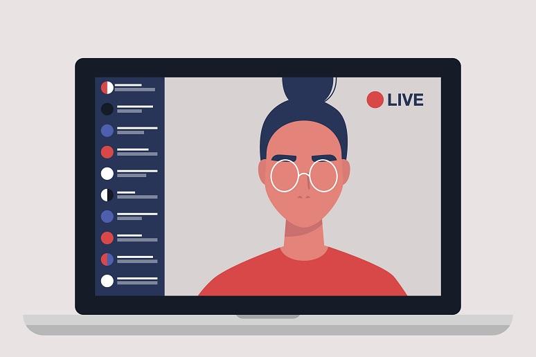 Female blogger holding live streaming session