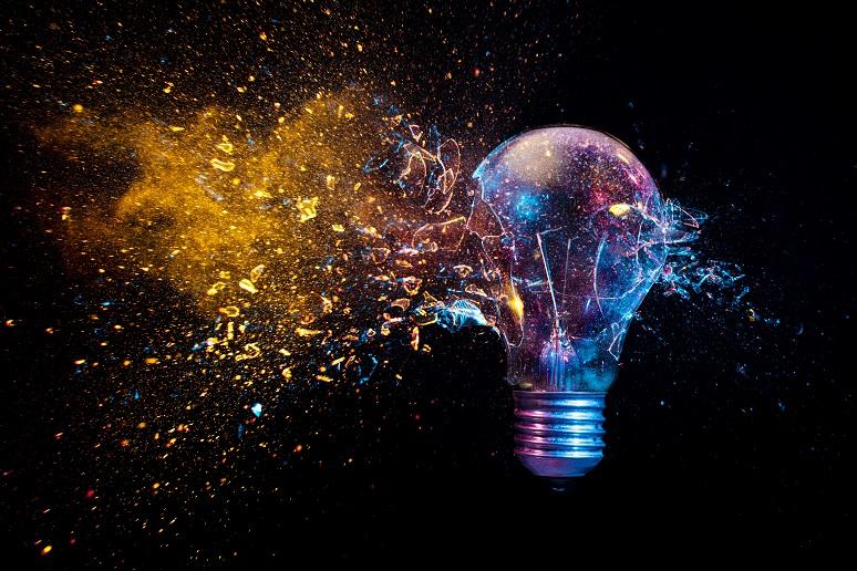 Illustration of lightbulb, to show innovation