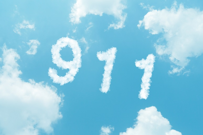 911 spelled in clouds