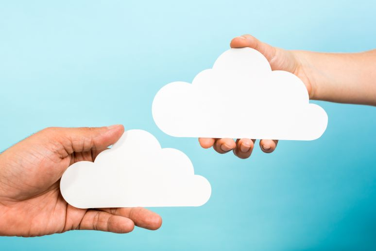 Two clouds showing concept of cloud integration