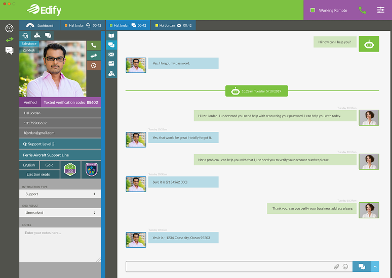Agent chat in Edify Huddle