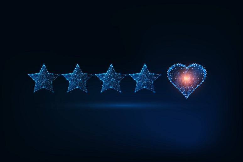 Customer star rating, plus heart