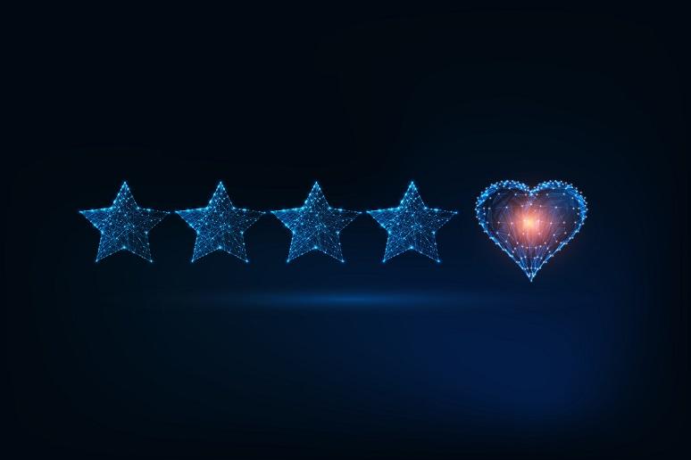 Customer star rating, plus heart