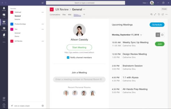 Webex and Microsoft Teams integration