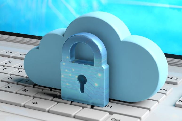 Photo of Blue cloud and padlock on a computer