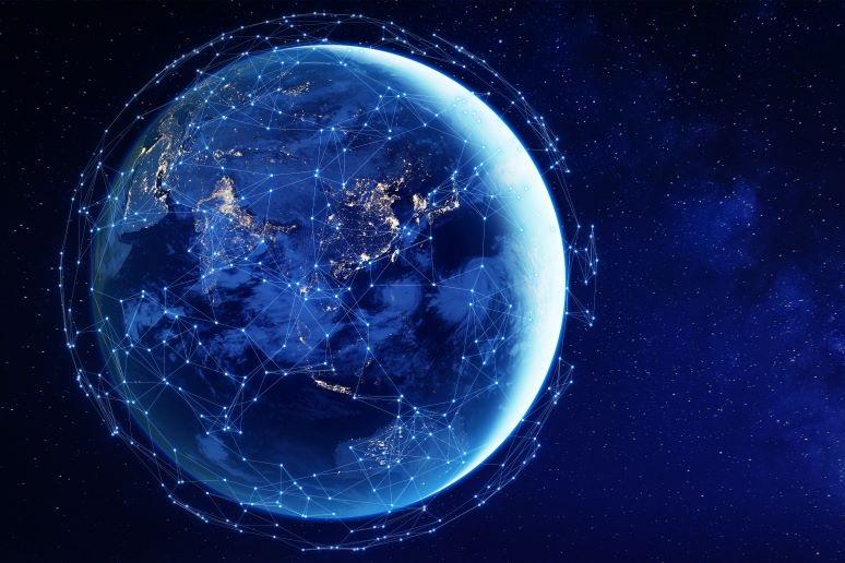Illustration of connectivity around the world