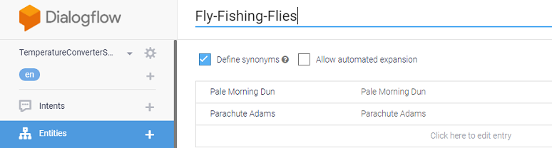Using lexicon for fly-fishing flies in Dialogflow