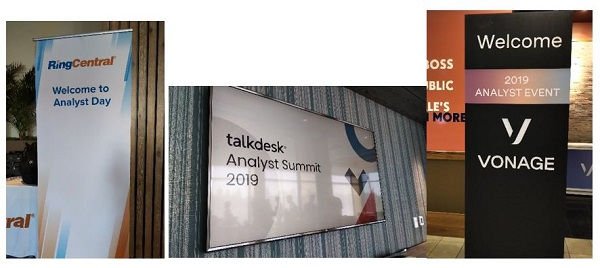 Signage from RingCentral, Talkdesk, and Vonage analyst days