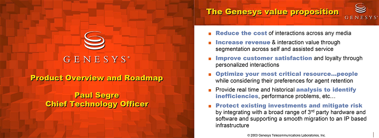 Genesys vision statements circa 2003