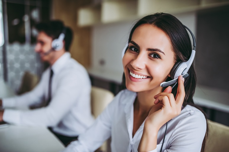 A contact center agent working