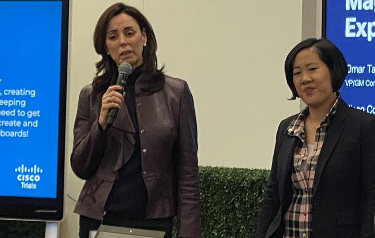 Photo of Cisco execs Gerri Elliott and Amy  Chang