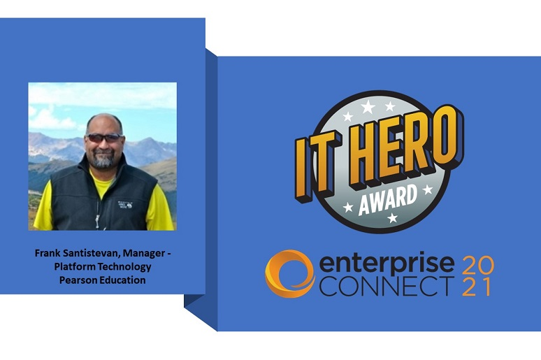 Photo of Frank Stanistevan, with Pearson Education, and IT Hero Award logo