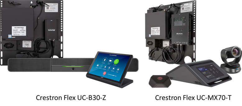 Examples of Crestron one-touch video devices. Key enabling component is the 70 Series touch screen on the left or the MX70 touch device on the right.