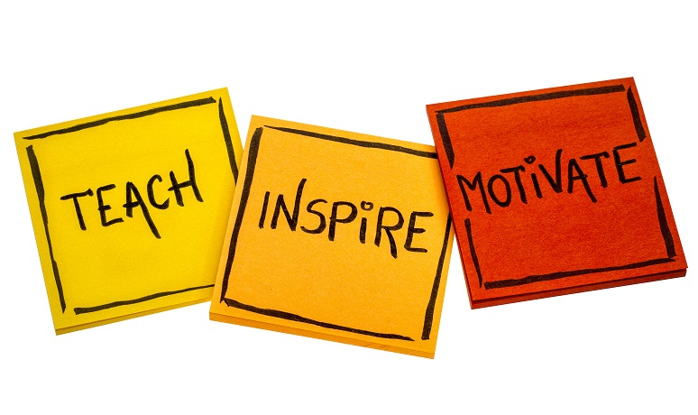 Picture with three squares: teach, inspire, motivate