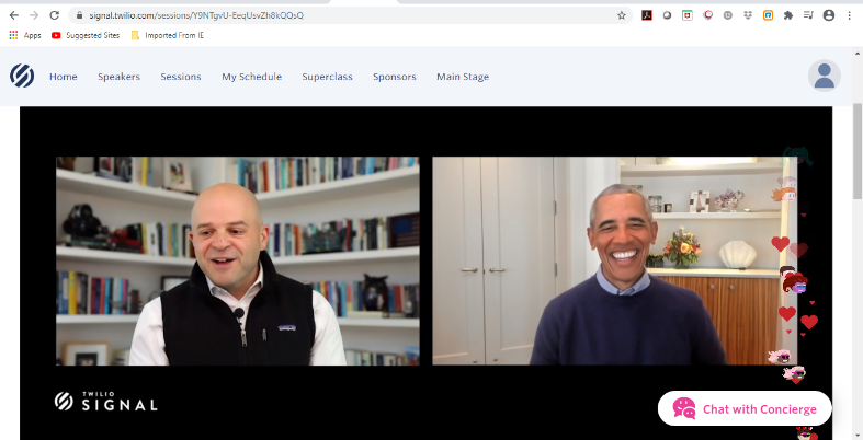 Twilio CEO Jeff Lawson talking with former presidentBarack Obama