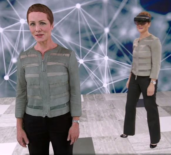 Julia White, Microsoft CVP for Azure AI Marketing, and her hologram