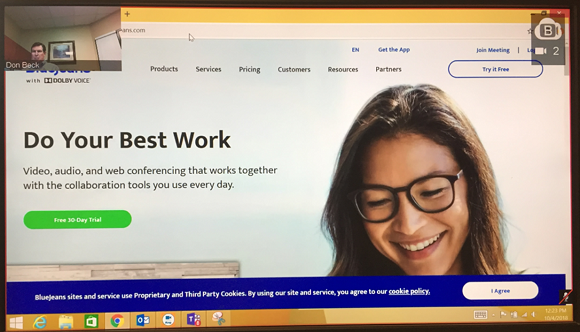 Screen sharing example using BlueJeans Gateway for Microsoft Teams
