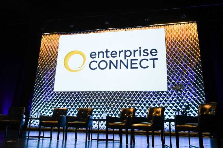 Photo of Enterprise Connect stage, ready to begin a session