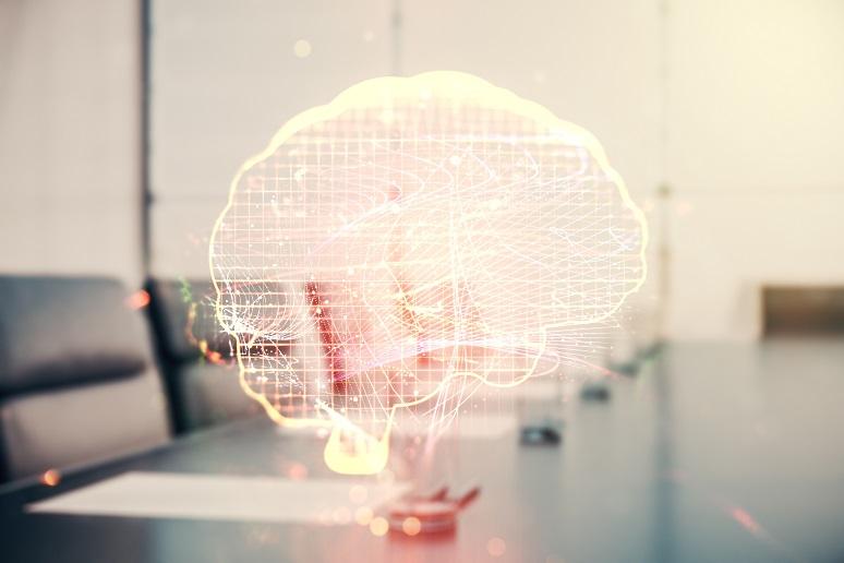 A neon digital brain