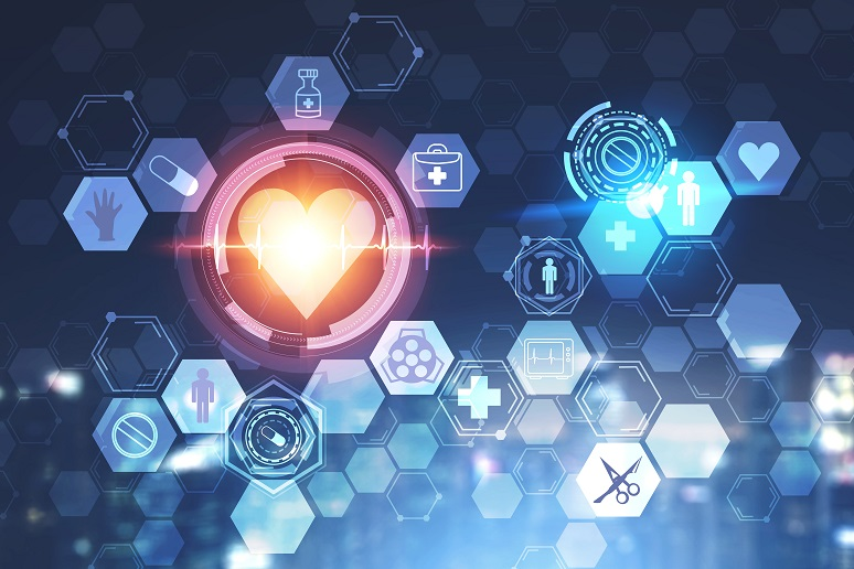 A healthcare technology graphic with a heart and apps
