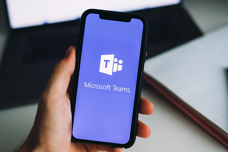 Someone using Microsoft Teams on their phone