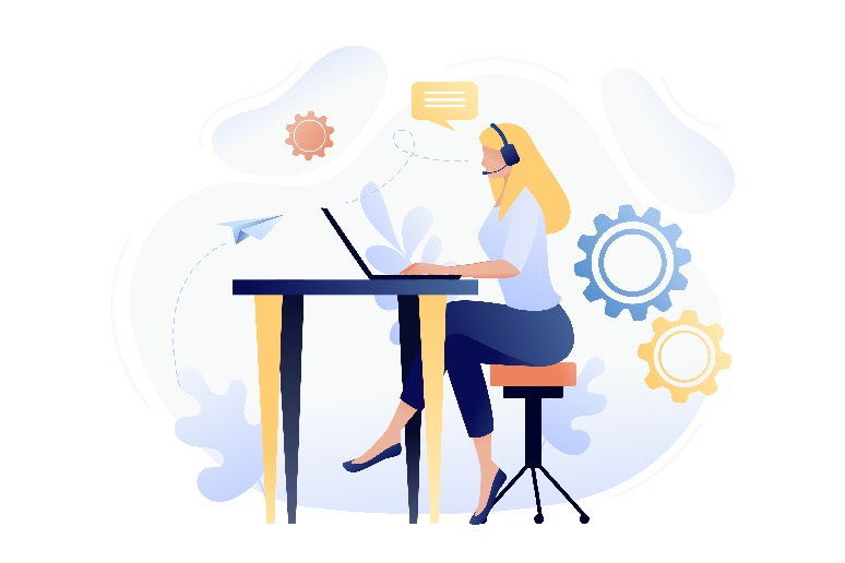An illustration of a woman wearing a headset working on a computer