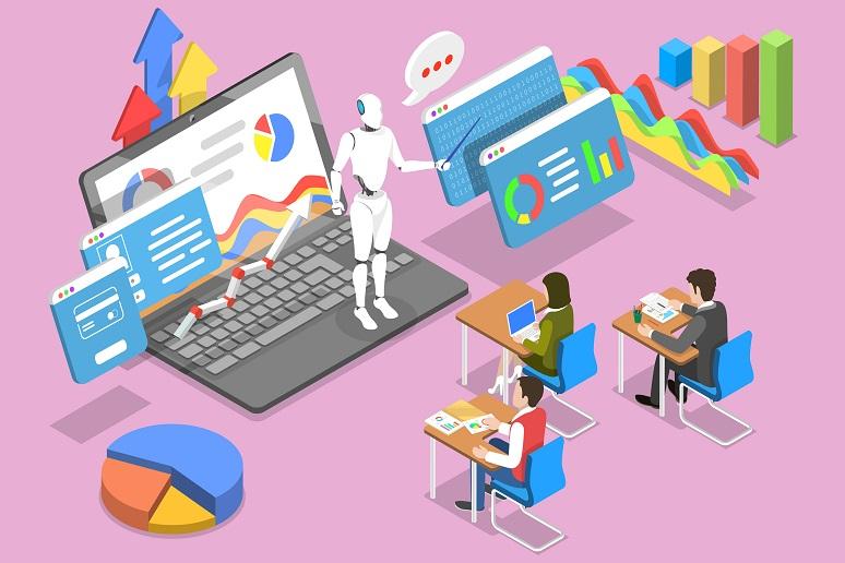 An AI teaching a team of employees