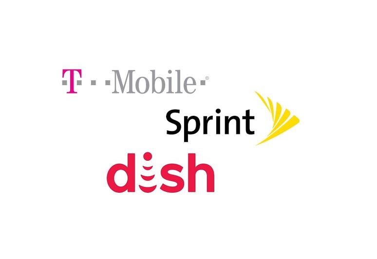 T-Mobile, Sprint, Dish logos