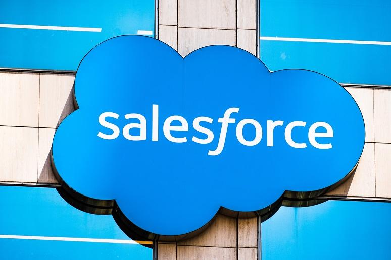 A Salesforce building sign