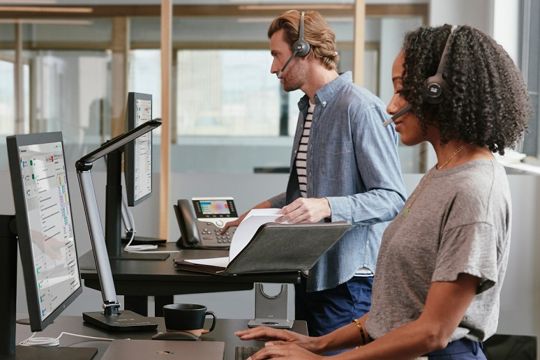 Woman working from standup desk