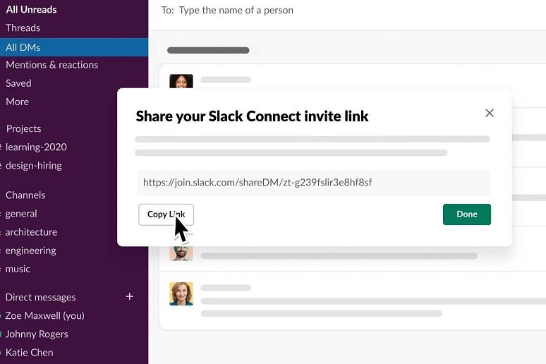 Slack DM in action within Slack