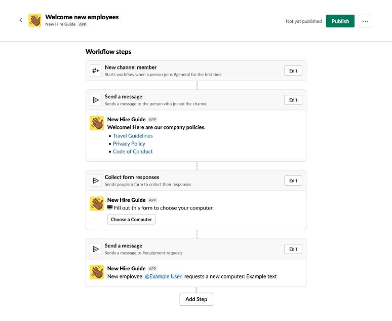 Slack Workflow Builder