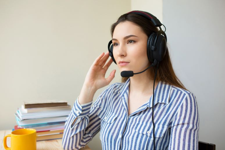 Photo of contact center agent working from home