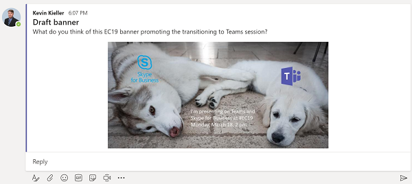 Teams message with embedded images
